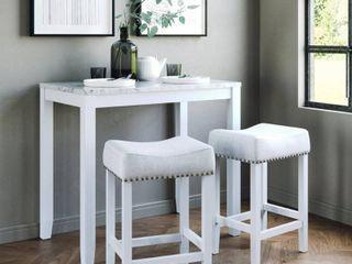 Nathan James Viktor Three Piece Dining Set Kitchen Pub Table Marble Top White Wood Base light Gray Fabric Seat