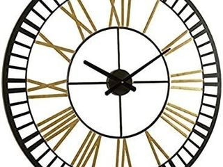 RiteSune large Metal Wall Clocks large Decorative for living Room Decor  32 Inches Big Oversized Metal Clock Battery Operated