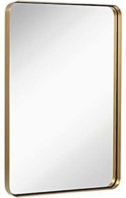 Hamilton Hills Contemporary Brushed Metal Wall Mirror   Glass Panel Gold Framed Rounded Corner Deep Set Design   Mirrored Rectangle Hangs Horizontal or Vertical  24  x 36