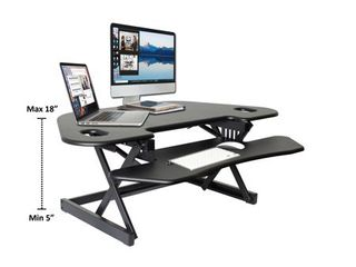 Height Adjustable Sit To Standing Corner Desk Riser Black   Rocelco