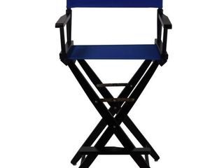 30 in  Extra Wide Black Wood Frame Royal Blue Canvas Seat Folding Directors Chair