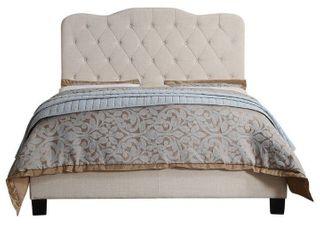 Andrea Upholstered Panel Bed  Beige