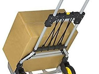 Mount It  Folding Hand Truck and Dolly  264 lb Capacity Heavy Duty luggage Trolley Cart With Telescoping Handle and Rubber Wheels  Silver  Black  Yellow