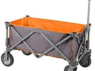 PORTAl Collapsible Folding Utility Wagon Quad Compact Outdoor Garden Camping Cart Removable Fabric  Grey