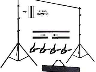 HYJ INC 10ft x 8 5ft Adjustable Photography Backdrop Support System Photo Video Studio Muslin Background Stand Kit with Carry Bag