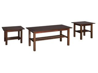 lewis Occasional Table Set Medium Brown  Set of 3    Signature Design by Ashley