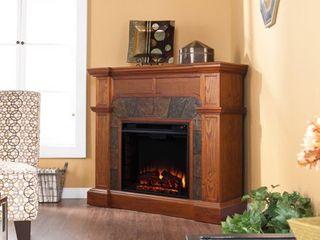 SEI Cartwright Fireplace  Slate Mission Oak