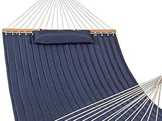 lazy Daze Hammocks Quilted Fabric Hammock with Pillow for Two Person Double Size Spreader Bar Heavy Duty Stylish  Navy Blue