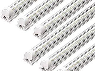 Barrina lED Shop light  40W 5000lM 5000K  4FT Integrated Fixture  V Shape T8 light Tube  Daylight White  Clear Cover  Hight Output  Strip lights Bulb for Garage Warehouse Workshop Basement  Pack of 6