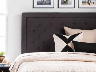 lucid Upholstered Headboard with Diamond Tufting  Grey