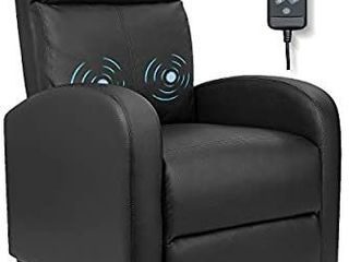 Furniwell Recliner Chair Massage Home Theater Seating Wing Back PU leather Modern Single living Room Reclining Sofa with Footrest  Black