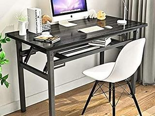 Folding Table Small Computer Desk YJHome 31 5  X 15 75  X 29  Student Study Writing Desk latop Foldable Desk Black Portable No Assembly Required Adjustable legs for Small Spaces Home Office School