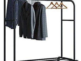 UDEAR Garment Rack Freestanding Hanger Double Rods Multi functional Bedroom Clothing Rack  White