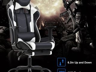 PC Gaming Chair Racing Office Chair Ergonomic Desk Chair Massage PU leather Recliner Computer Chair with lumbar Support Headrest Armrest Footrest Rolling Swivel Task Chair for Women Adults  White
