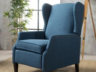 Wescott Wingback Fabric Recliner Club Chair by Christopher Knight Home   Navy blue