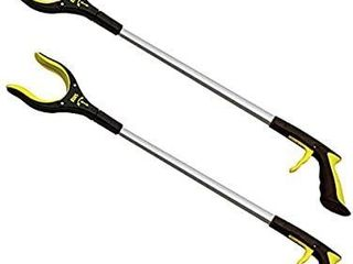 2 Pack 32 Inch Extra long Grabber Reacher with Rotating Jaw   Mobility Aid Reaching Assist Tool  Yellow