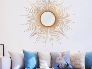 Adeco Sunburst Gold tone Round Wall Mirror