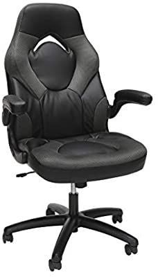 OFM Essentials Collection Racing Style Bonded leather Gaming Chair  in Gray