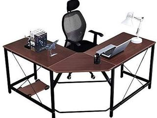 DlandHome l Shaped Computer Desk 59 inches x 59 inches  Composite Wood and Metal  Home Office PC laptop Study Workstation Corner Table with CPU Stand  ZJ02 WB Walnut