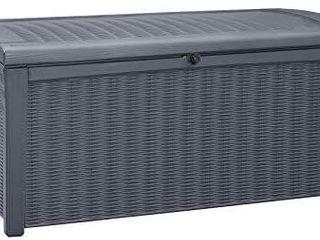 Keter Borneo 110 Gallon Resin Deck Box organization And Storage For Grey
