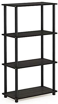Furinno  99557EX BK  Turn N Tube 4 Tier Multipurpose Shelf Display Rack   Espresso Black