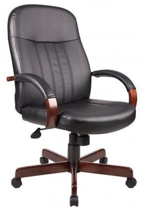 B8376 M 41  leatherPlus Executive Chair with lumbar Support  Hardwood Arms  Hooded Double Wheel Casters  Pneumatic Gas lift Seat Height Adjustment and Adjustable Tilt Tension Control in Mahogany Finish