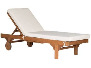 Newport Chaise lounge Chair With Side Table   Teak Brown   Beige   Safavieh