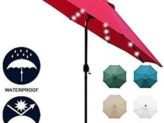 Sunnyglade 9  Solar 24 lED lighted Patio Umbrella with 8 Ribs  Tilt Adjustment and Crank lift System  Red
