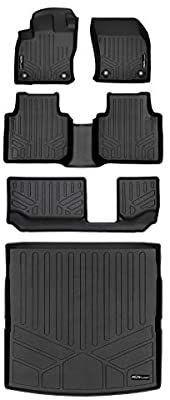 MAXlINER Custom Fit Floor Mats 3 Rows and Cargo liner Behind 2nd Row Set Black for 2018 2019 Volkswagen Tiguan 7 Passenger