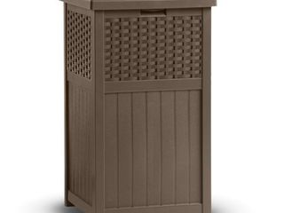 Suncast 33 Gallon Hideaway Trash Can for Patio   Brown