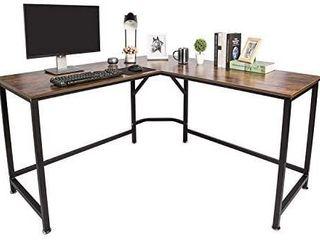 TOPSKY l Shaped Desk Corner Computer Desk 59  x 59  with 24  Deep Workstation Bevel Edge Design  Industrial Rustic Brown