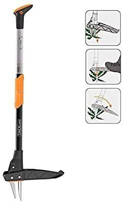 TACKlIFE Weeder  39 Inch Stand Up Weeder  Heavy Duty Thickened 3 claw Stainless Steel and High strength Pedals  Automatic Spring Return Device  labor saving and Efficient Weeding  GSW1A