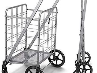 Newly Released Grocery Utility Flat Folding Shopping Cart with 360A Rolling Swivel Wheels Heavy Duty   light Weight Extra large Utility Cart