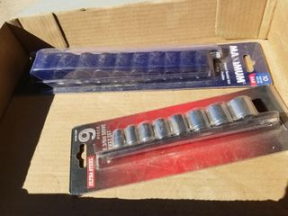 2 Impact Socket Sets, 9pc and 10pc