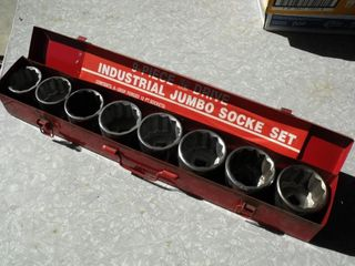 Industrial 3/4 Drive, 9 Piece Socket Set