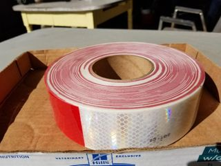 New, Red/White Reflector Tape, 150ft X 2 Inches