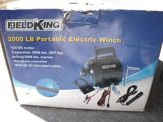 NEW Fieldking 2000lb Portable Electric Winch