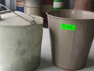 Galvanized Pail and Small Garbage Can