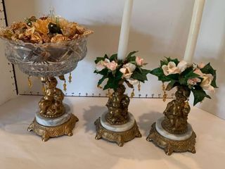Set of three cherub candleholders and potpourri bowl