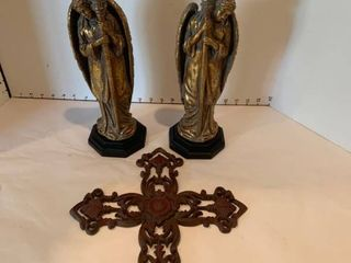 Set of two angel candleholders and an iron cross