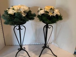 Set of two candle topiaries