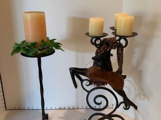 Set of two candleholders iron