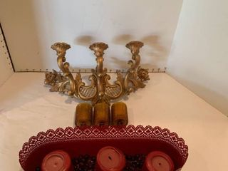 Two candleholders with candles