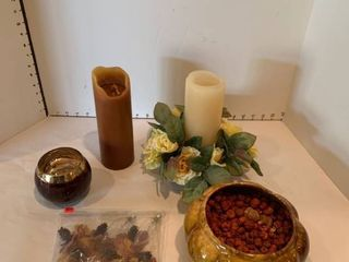 Assorted candleholders and decor