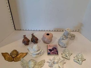 Assorted angel decor and Victorian nightlight