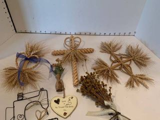Assorted wheat decor and other items