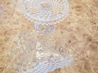 American Fostoria cake plate  cruet and bowl