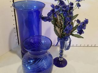 Blue glass vases