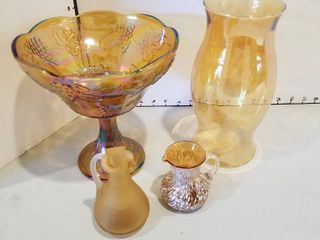 Carnival glass bowl and assorted decor