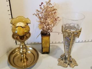 Assorted brass and glass decor